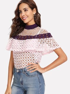 Mock Neck Geo Lace Ruffle Top