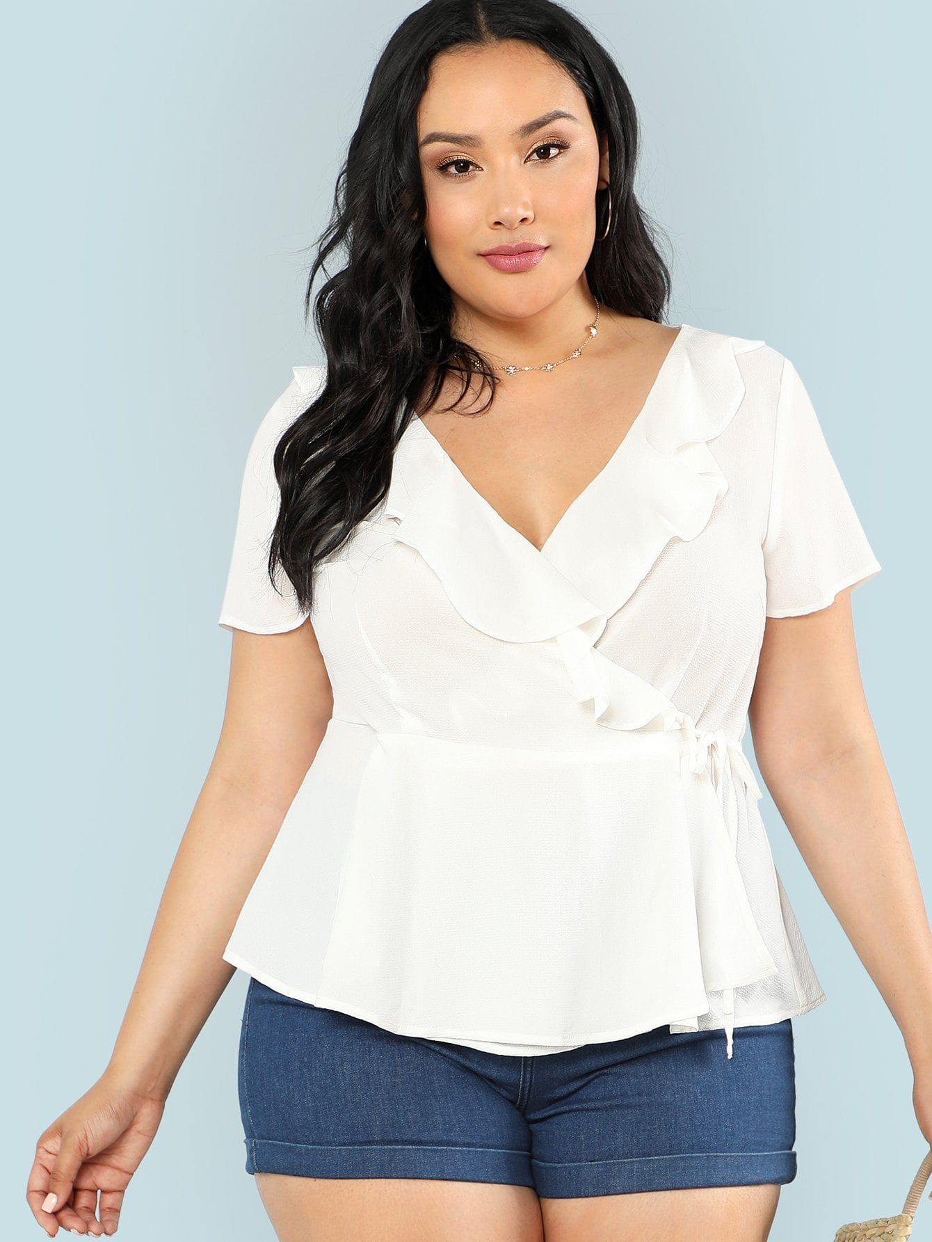 Ruffle Trim Surplice Wrap Top кордщетка атака 34728