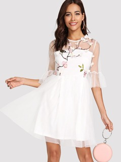 Botanical Embroidered Flounce Sleeve Mesh Overlay Dress