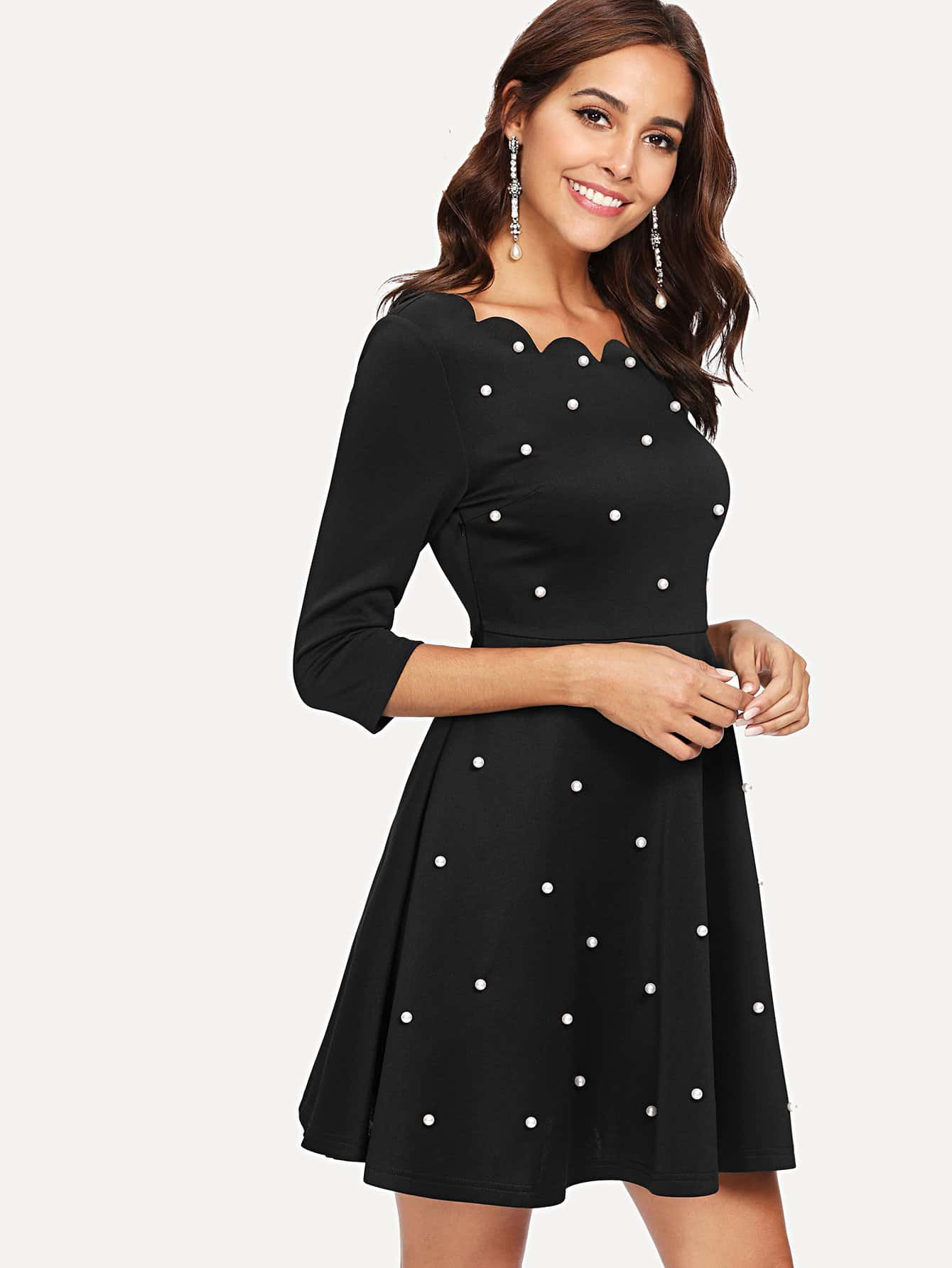 Pearl Detail Scallop Trim Fit & Flare Dress scallop detail bell sleeve dress