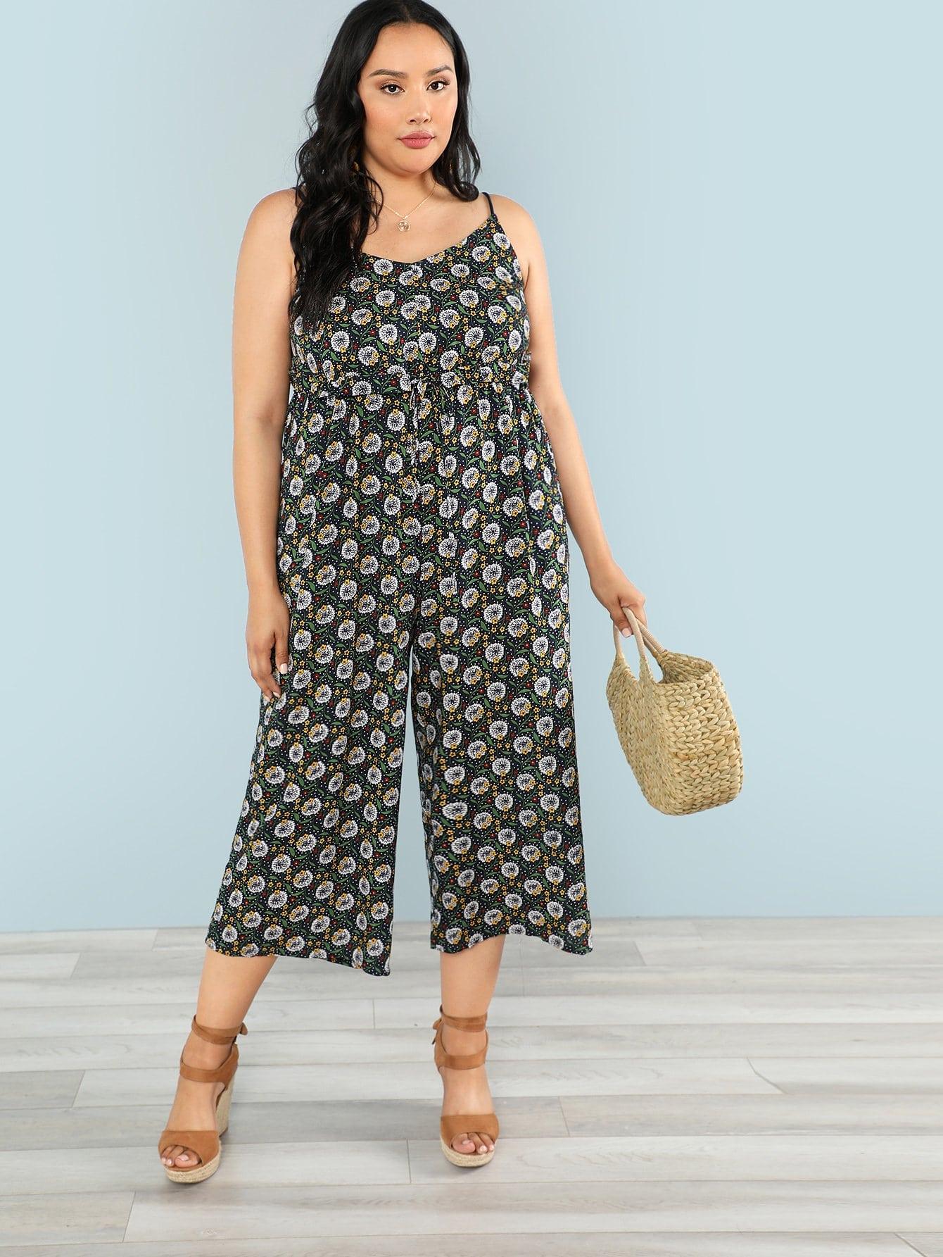 Calico Print Wide Leg Cami Jumpsuit tropical print wide leg cami jumpsuit