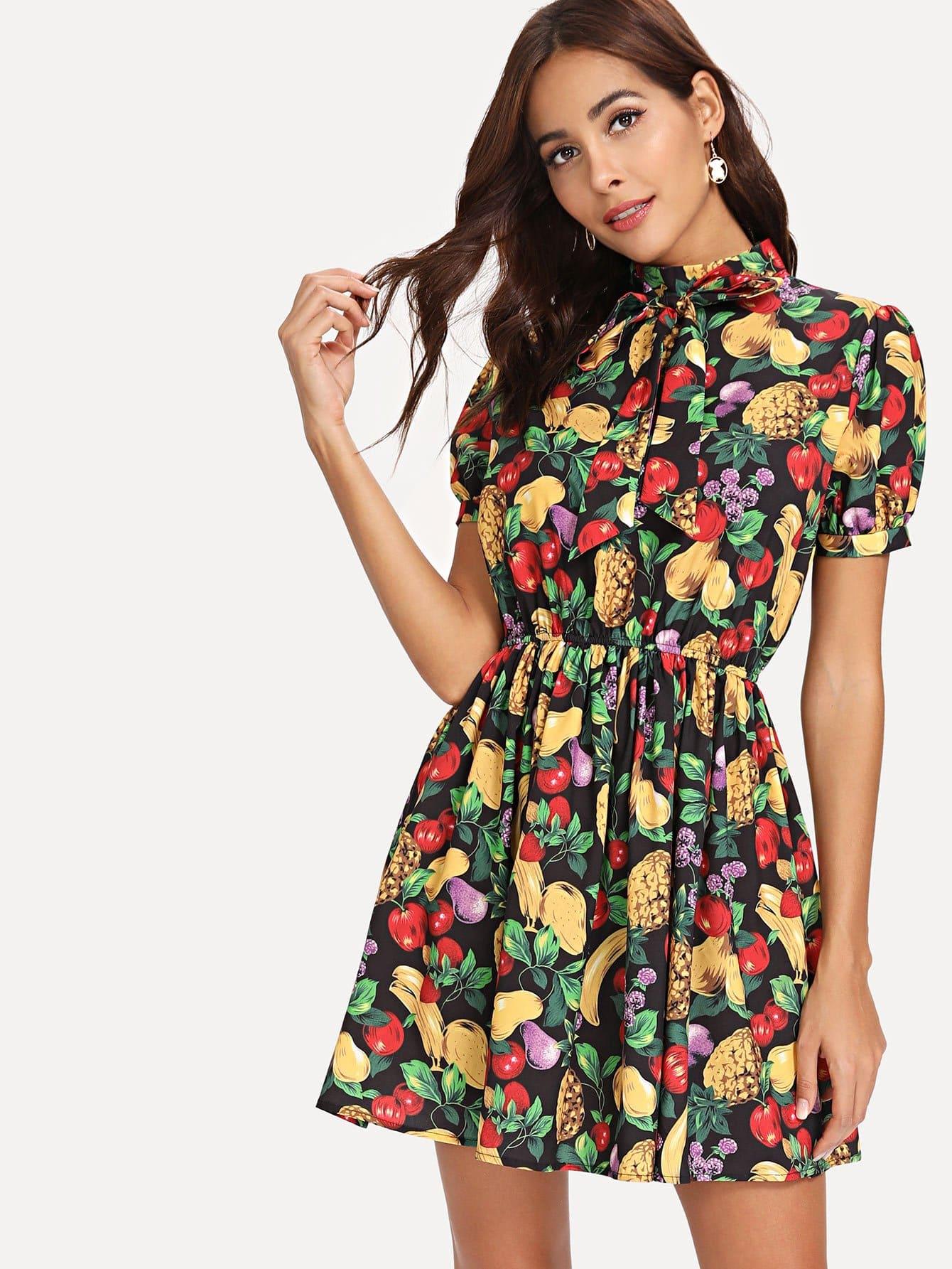 Купить Платье с принтом фрукты, Giulia, SheIn