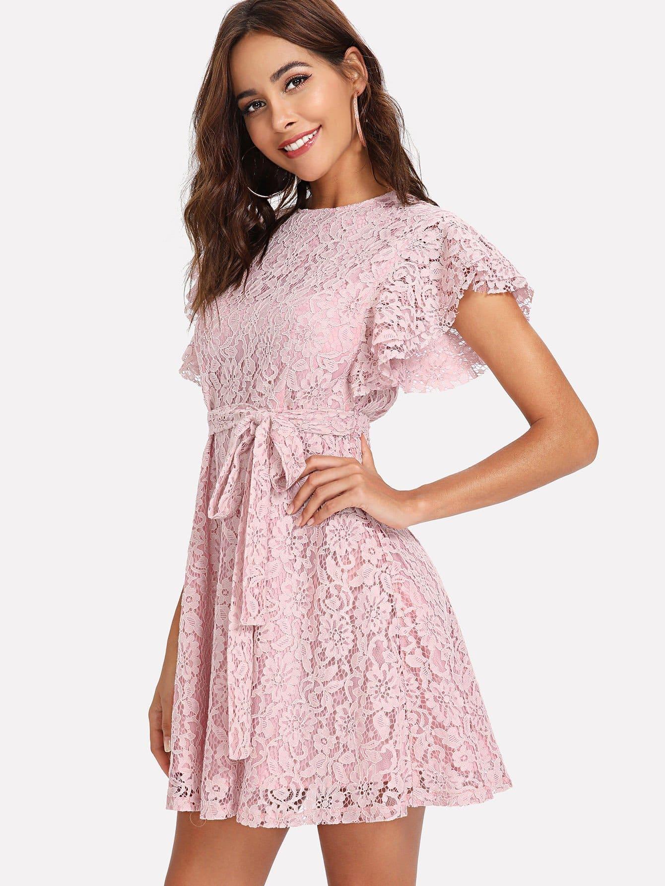 Flutter Sleeve Split Back Belted Lace Dress