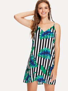 Tropical & Striped Slip Dress