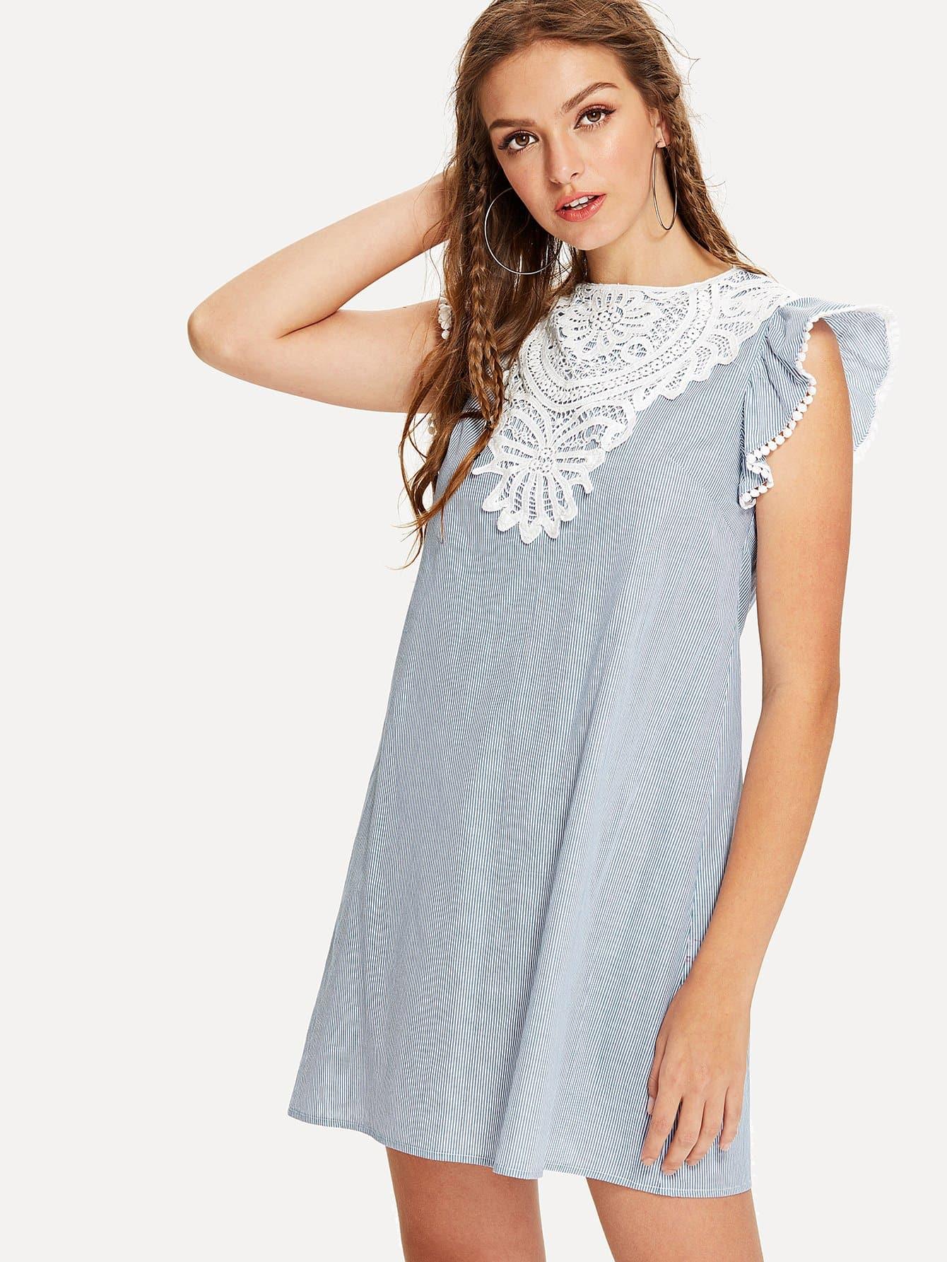 Contrast Lace Applique Ruffle Pinstripe Dress contrast collar lace applique pleated pinstripe dress