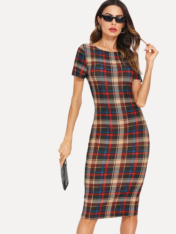 Form Fitted Plaid Dress by Shein