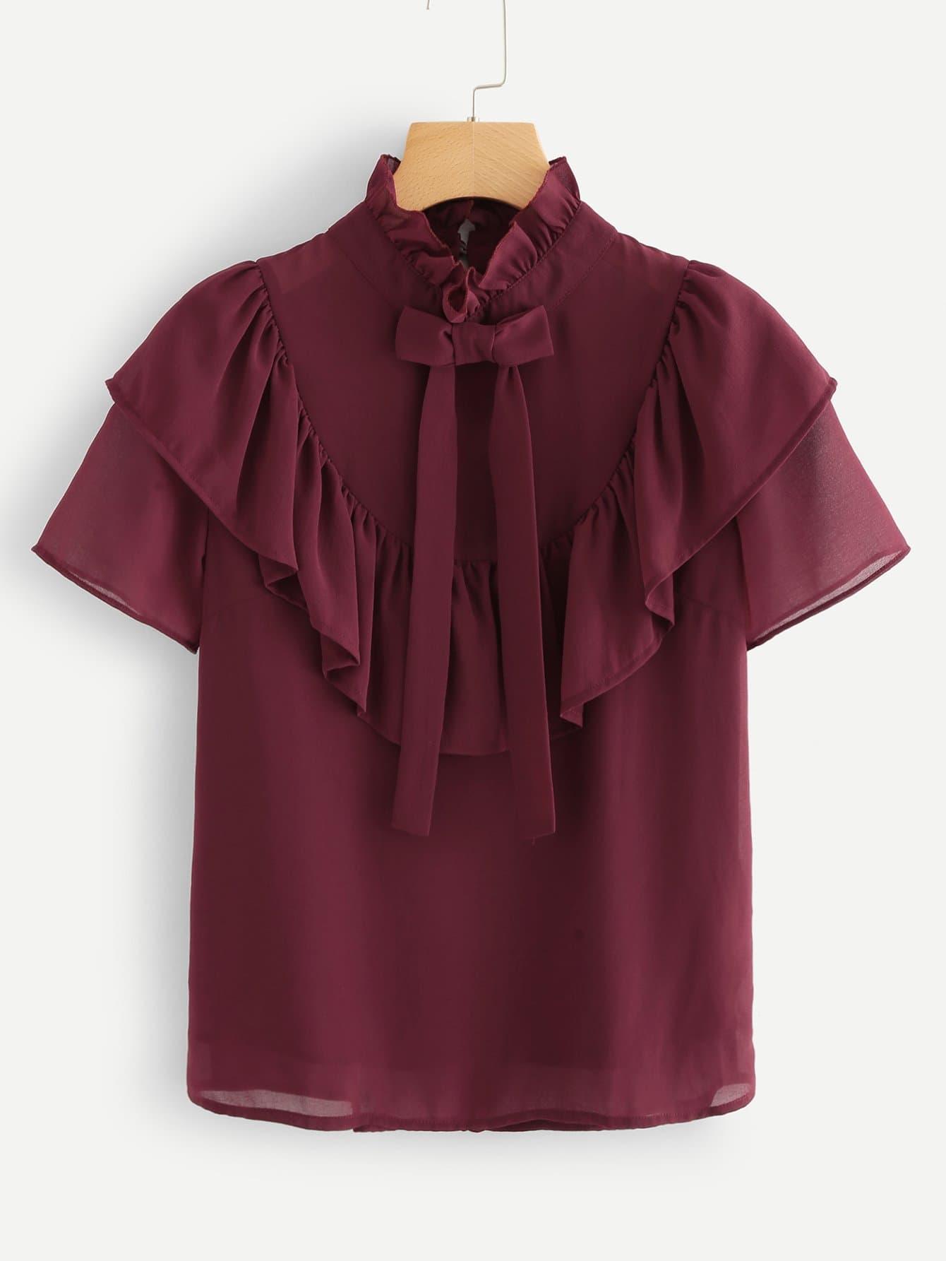 Tie Neck Ruffle Blouse blouse luxmix blouse