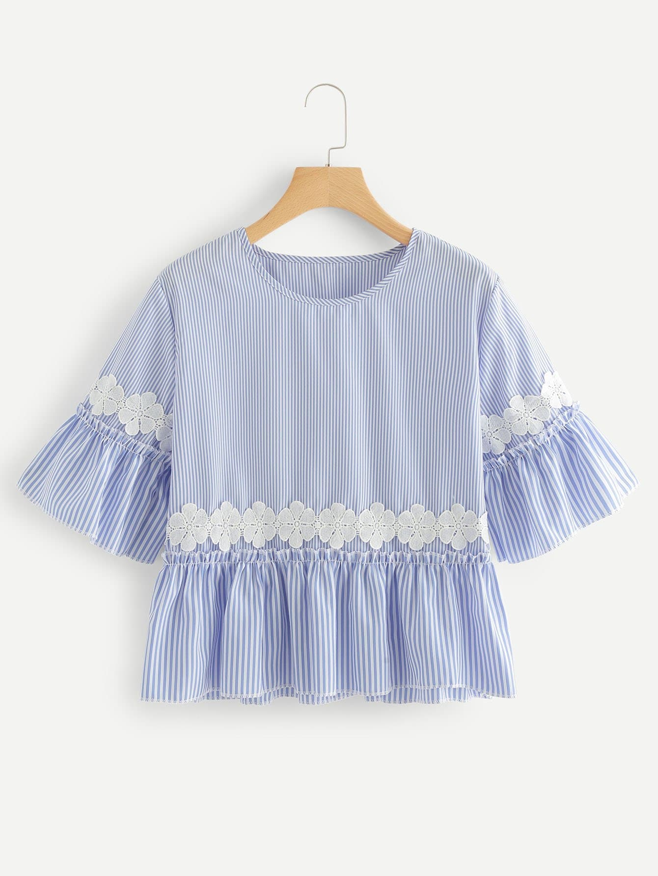 Embroidered Striped Babydoll Blouse embroidered cap sleeve babydoll