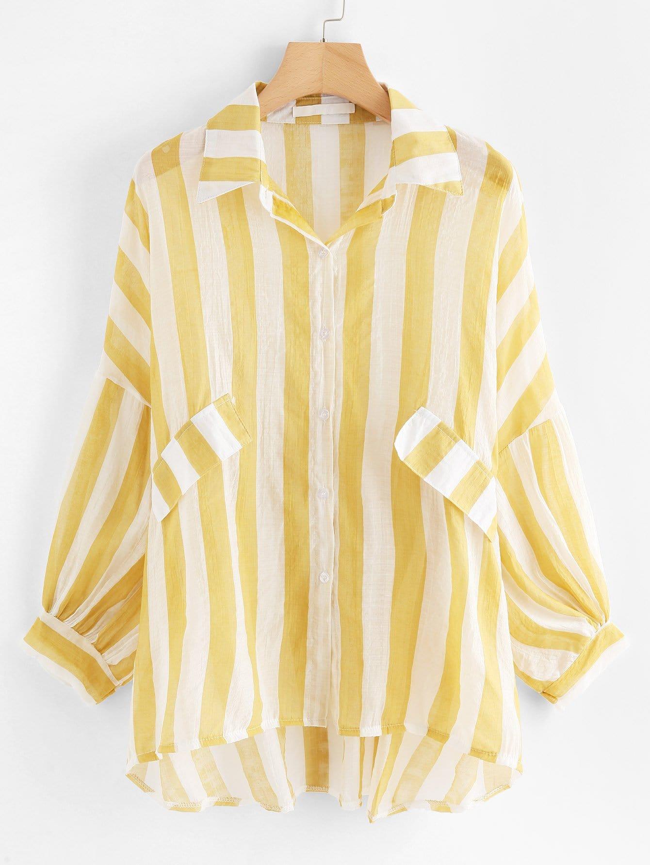 Drop Shoulder Dip Hem Striped Shirt two tone drop shoulder sweatshirt