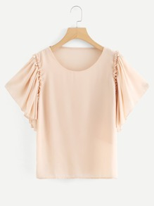 Pearl Beaded Detail Butterfly Sleeve Blouse