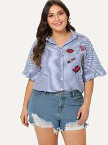 Embroidered Patch Striped Shirt
