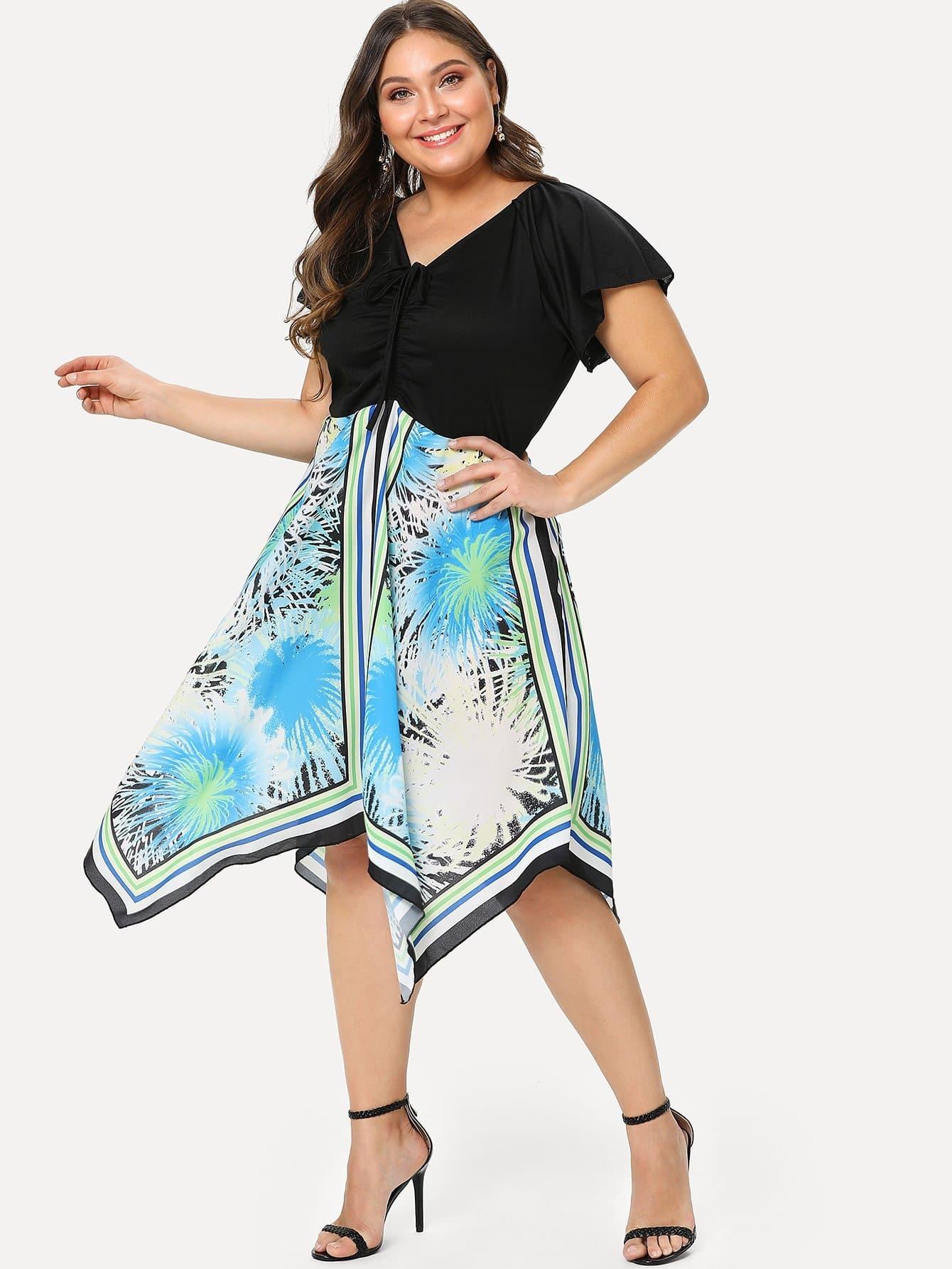 Plus Drawstring Front Asymmetrical Hem Dress