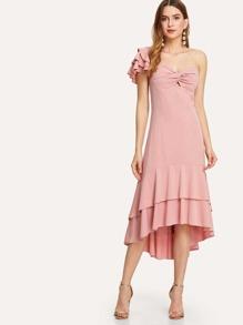 One Shoulder Tiered Ruffle Hem Dress