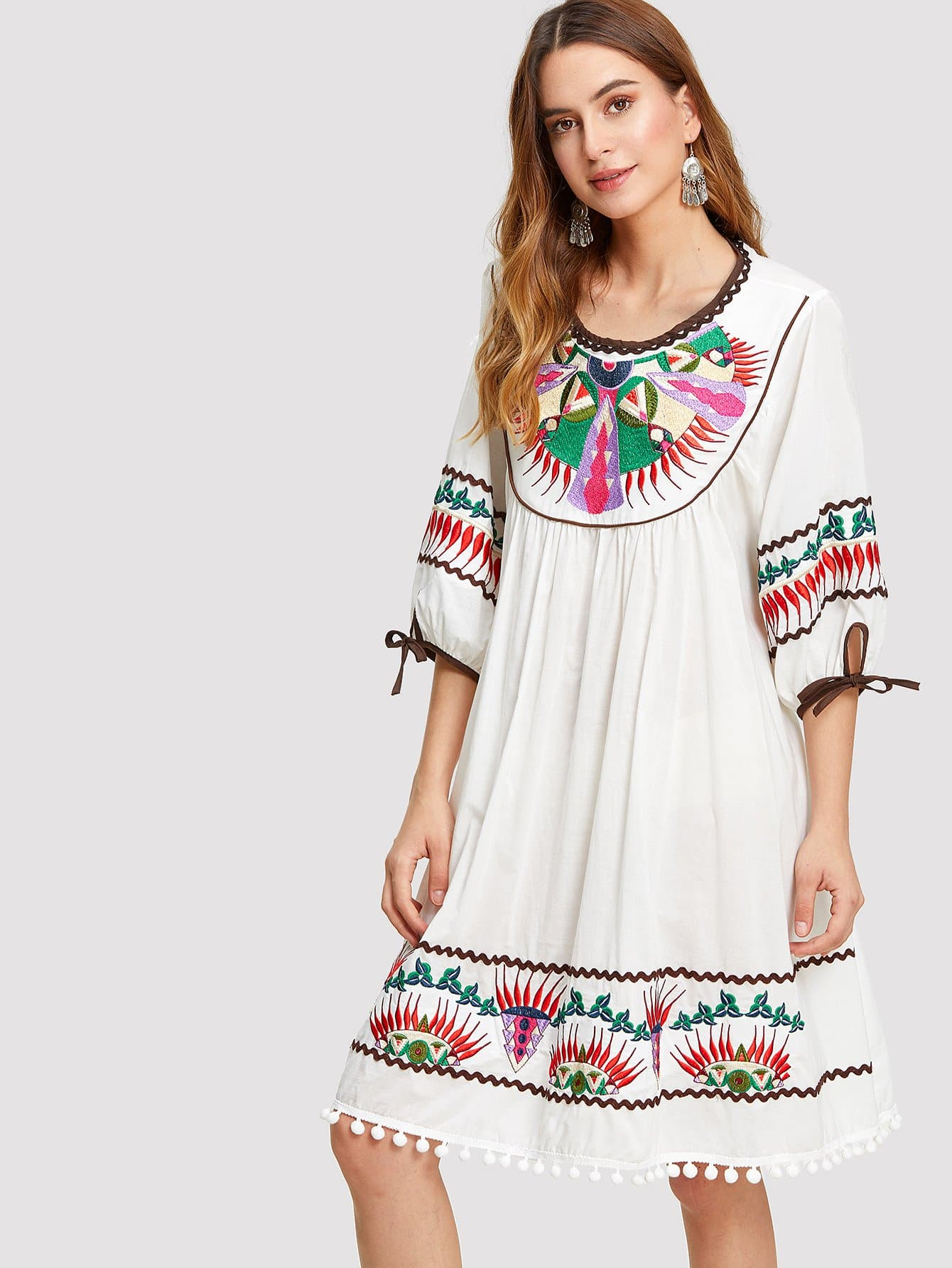 Knot Cuff Pom Pom Hem Embroidered Dress rosemary aravanis young learners english starter teacher s book cd rom
