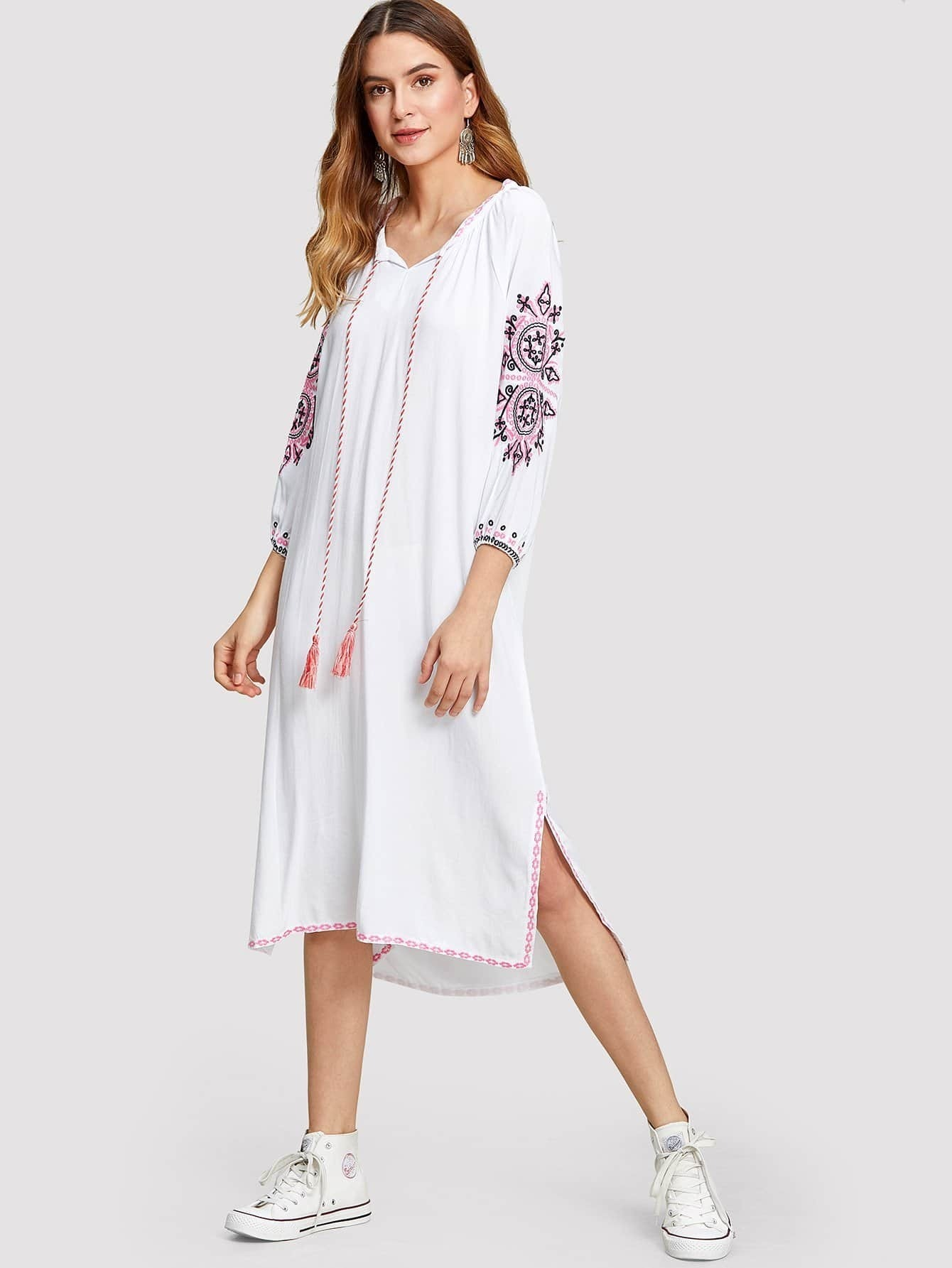 Tassel Detail Split Side Embroidered Dress split side embroidered applique dress