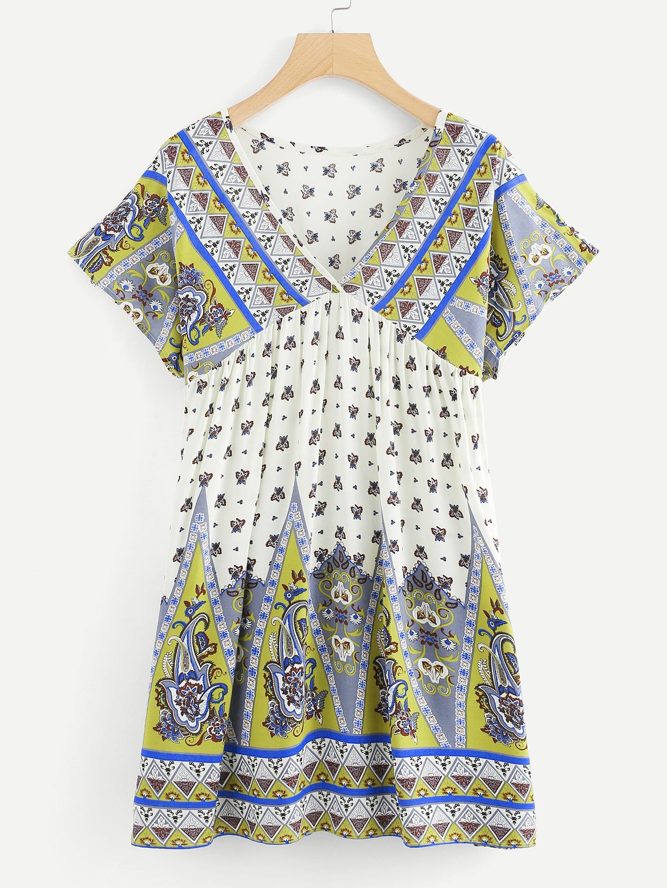 V Neckline Geo Print Dress v neckline geo print dress