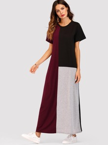 Contrast Panel Colorblock Dress