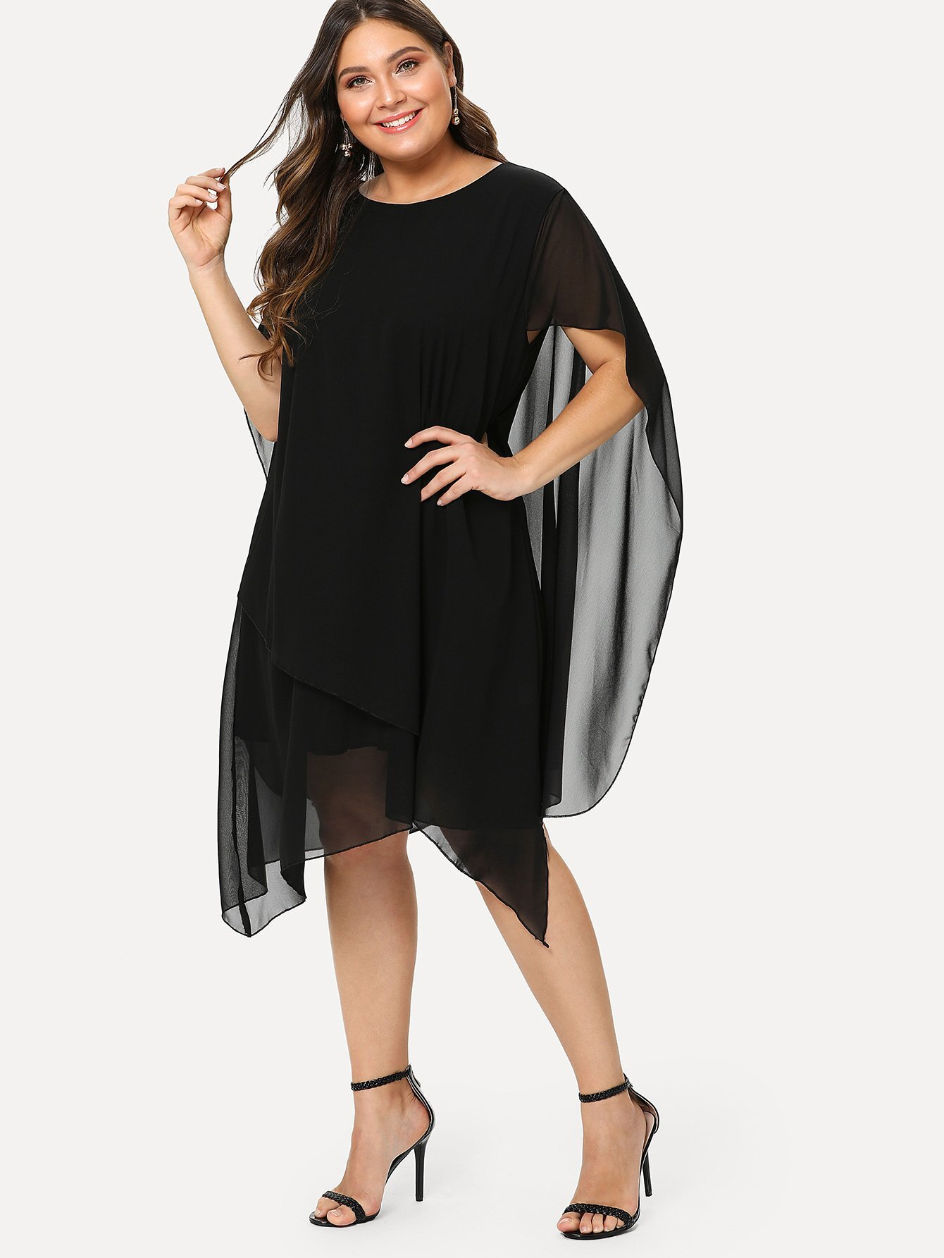 Plus Asymmetrical Hem Tiered Dress