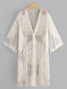 Sheer Mesh Embroidered Longline Kimono