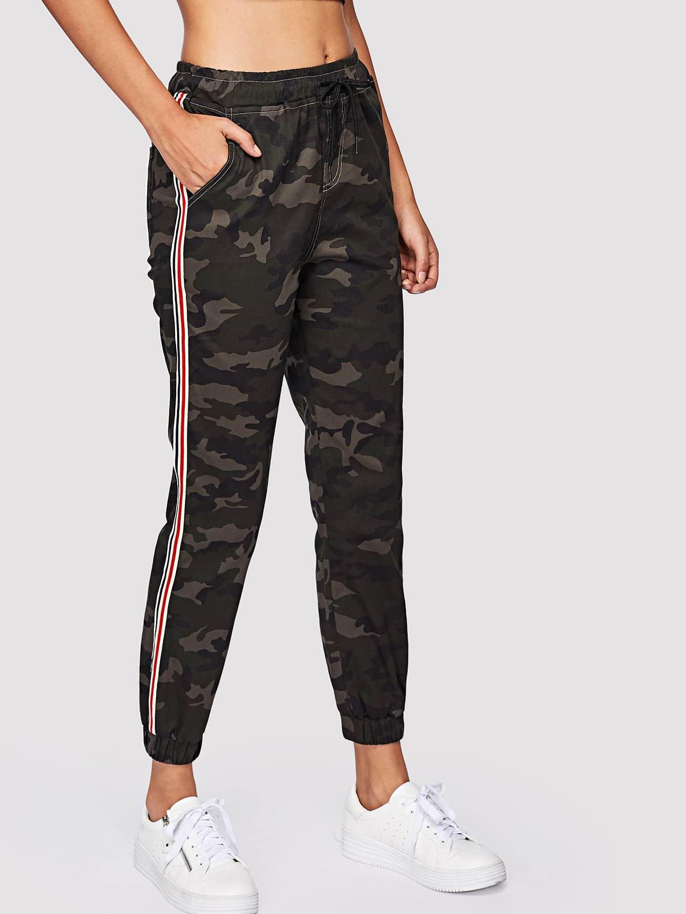 Striped Tape Side Camo Sweatpants striped tape side cuffed pants