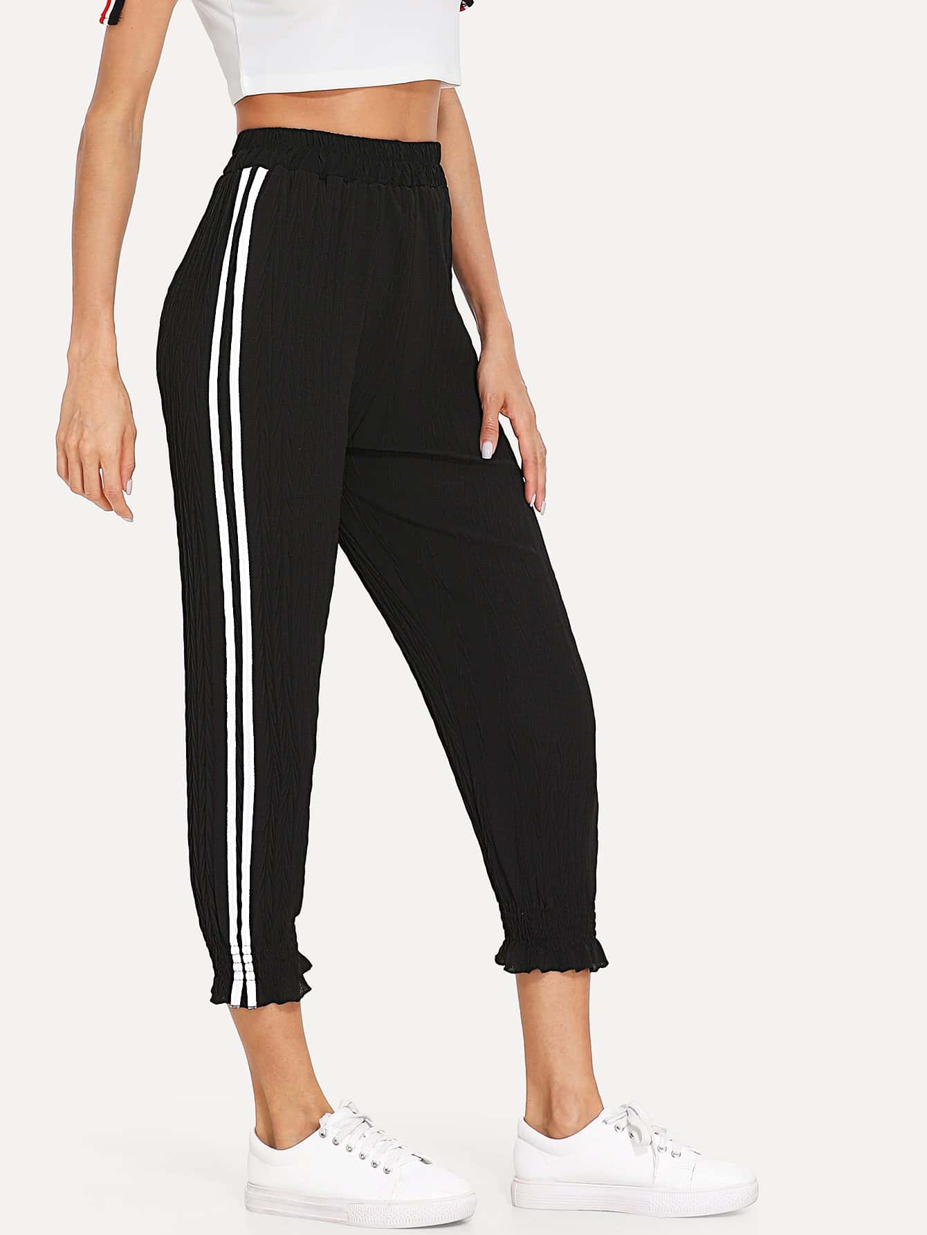 Striped Tape Side Pants striped tape side legging shorts
