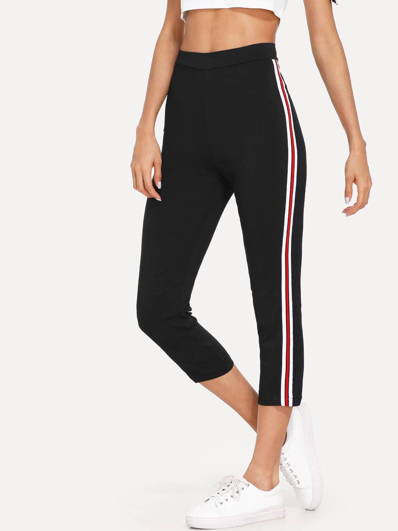 Striped Tape Side Skinny Sweatpants striped tape side cuffed pants