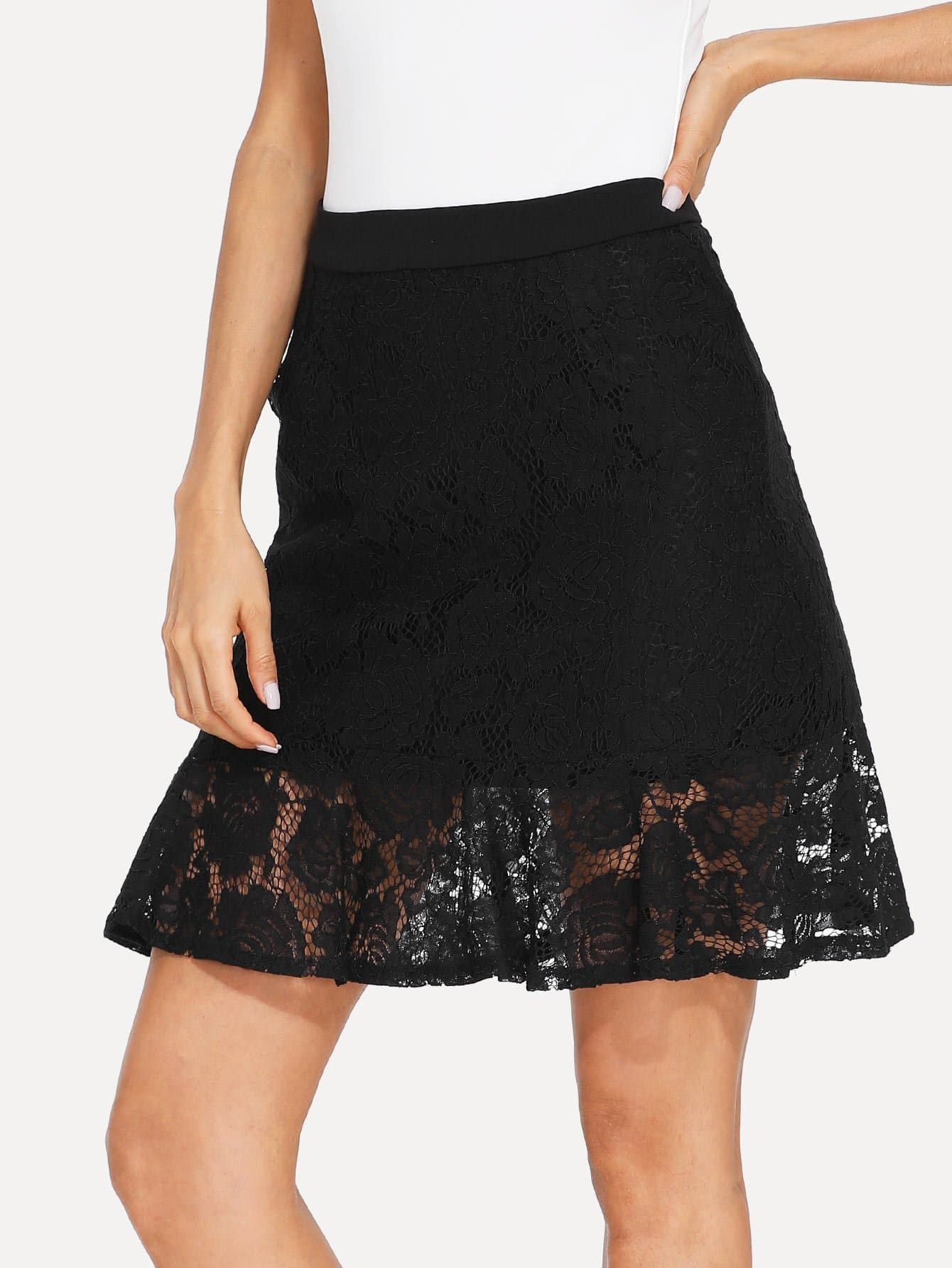 Ruffle Hem Lace Skirt ruffle hem lace skirt
