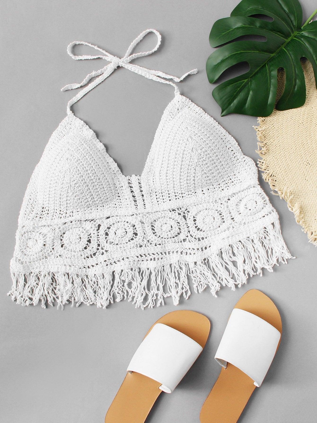 Fringe Hem Crochet Halter Top feather print fringe embellished eyelet crochet top