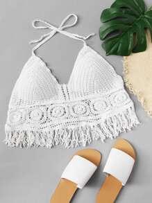 Fringe Hem Crochet Halter Top