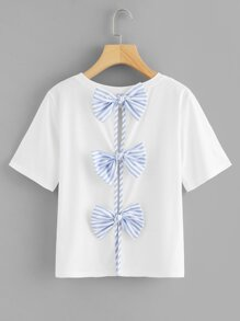 Contrast Bow Split Back Tee