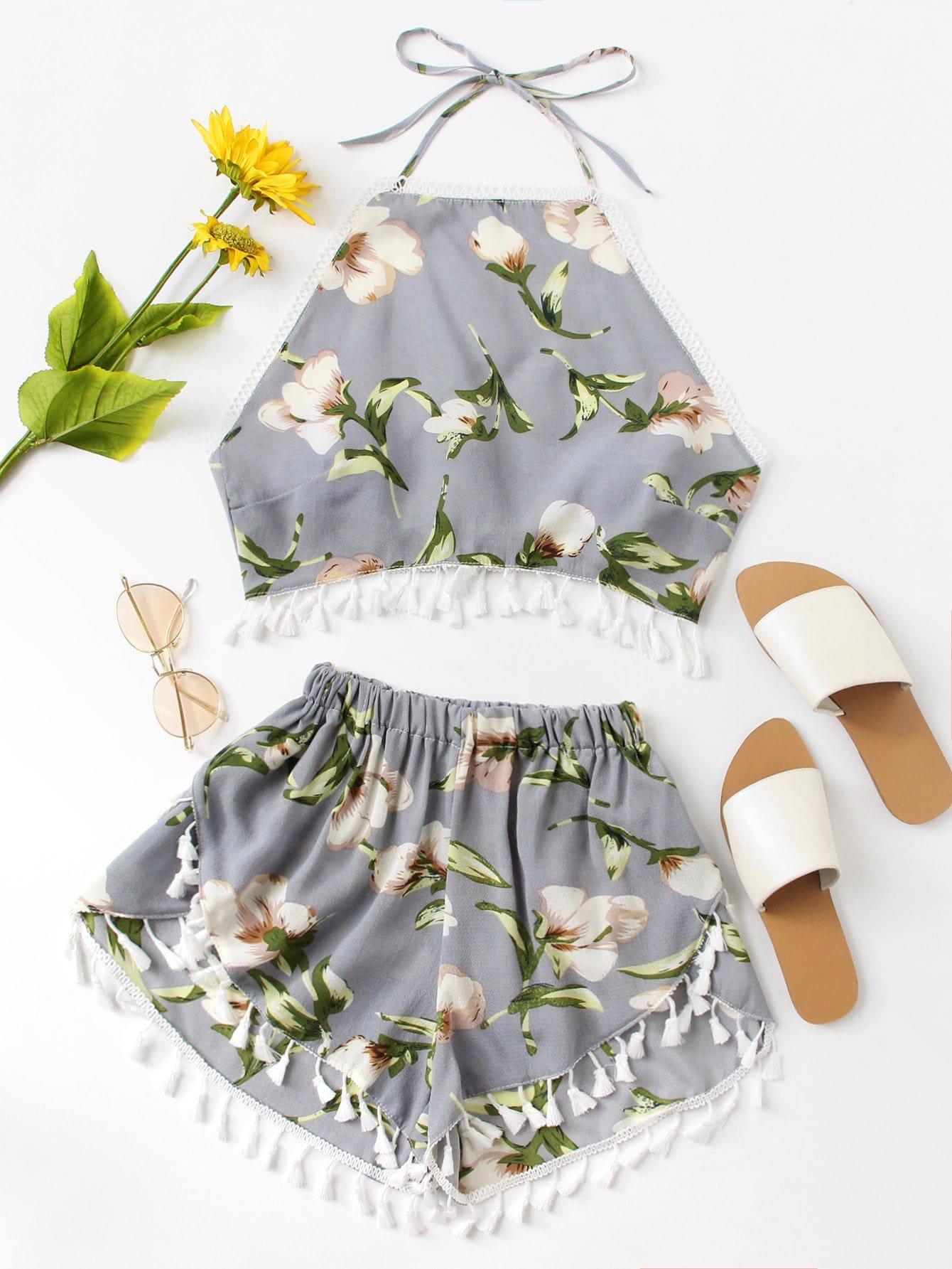 Fringe Hem Floral Print Halter Top With Shorts floral applique bowknot top with shorts