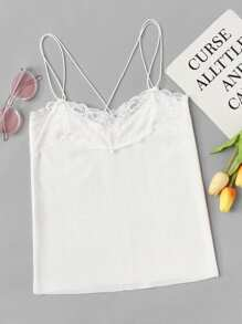 Cross Back Lace Panel Cami Top