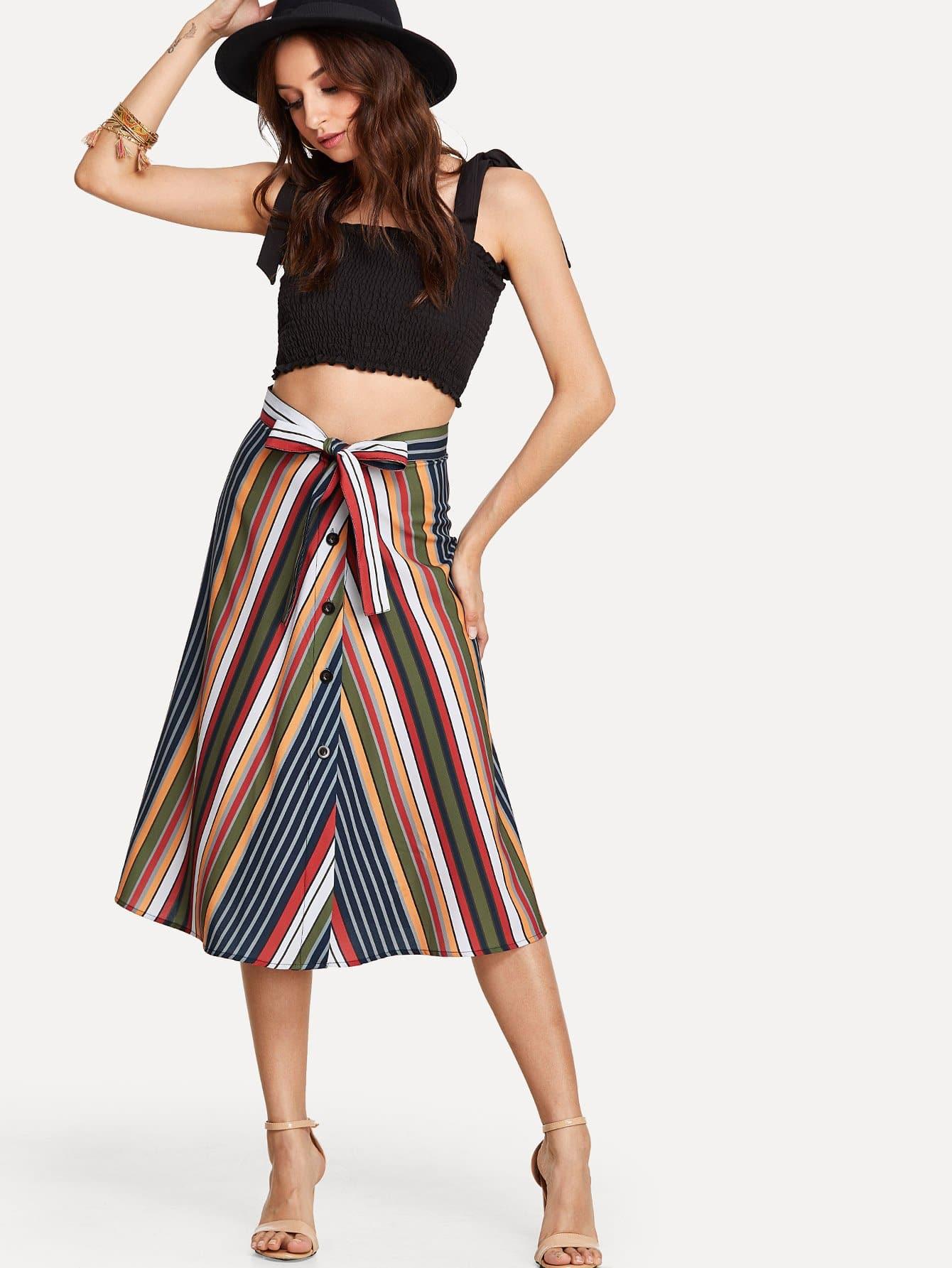 Self Tie Striped Skirt multi striped skirt