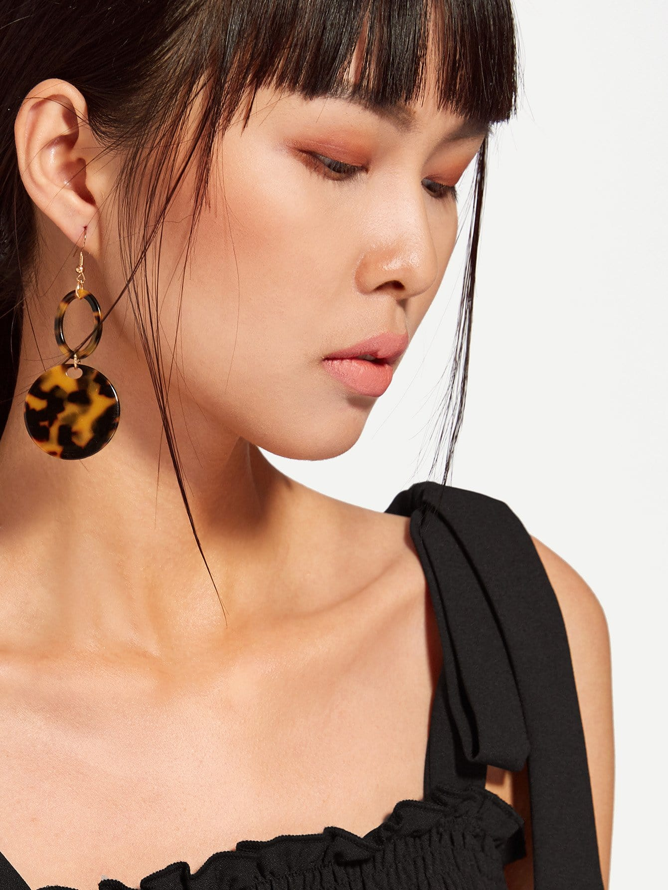 Double Round Design Drop Earrings two tone round drop earrings