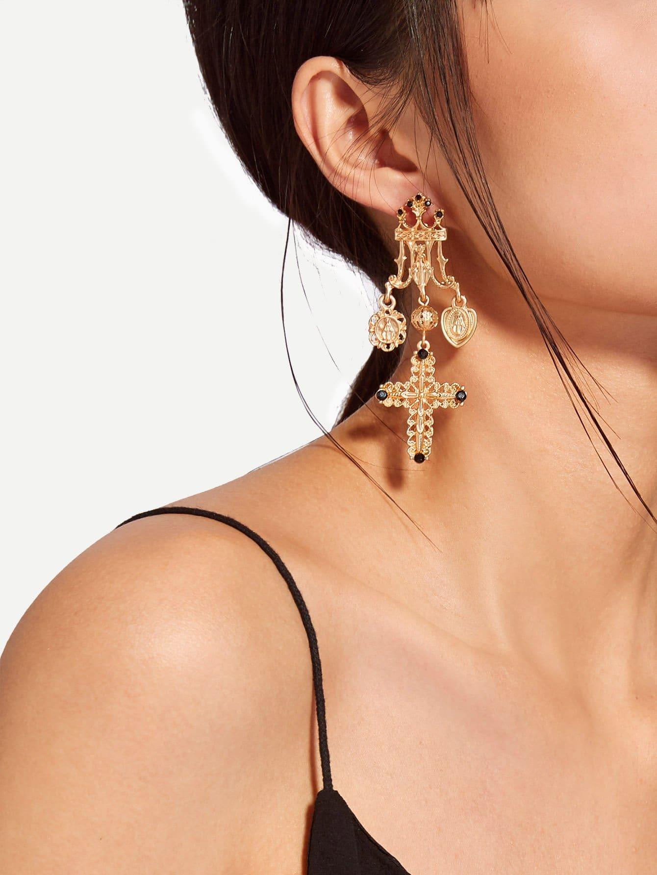 Cross Design Long Drop Earrings two tone cross design drop earrings
