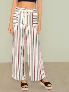 Stripe Tie Waist Palazzo Pants