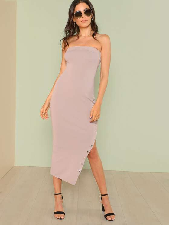 f1437c0613 Ribbed Knit Tube Dress with Button Up Slit