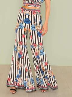 Stripe and Floral Print Palazzo Pants