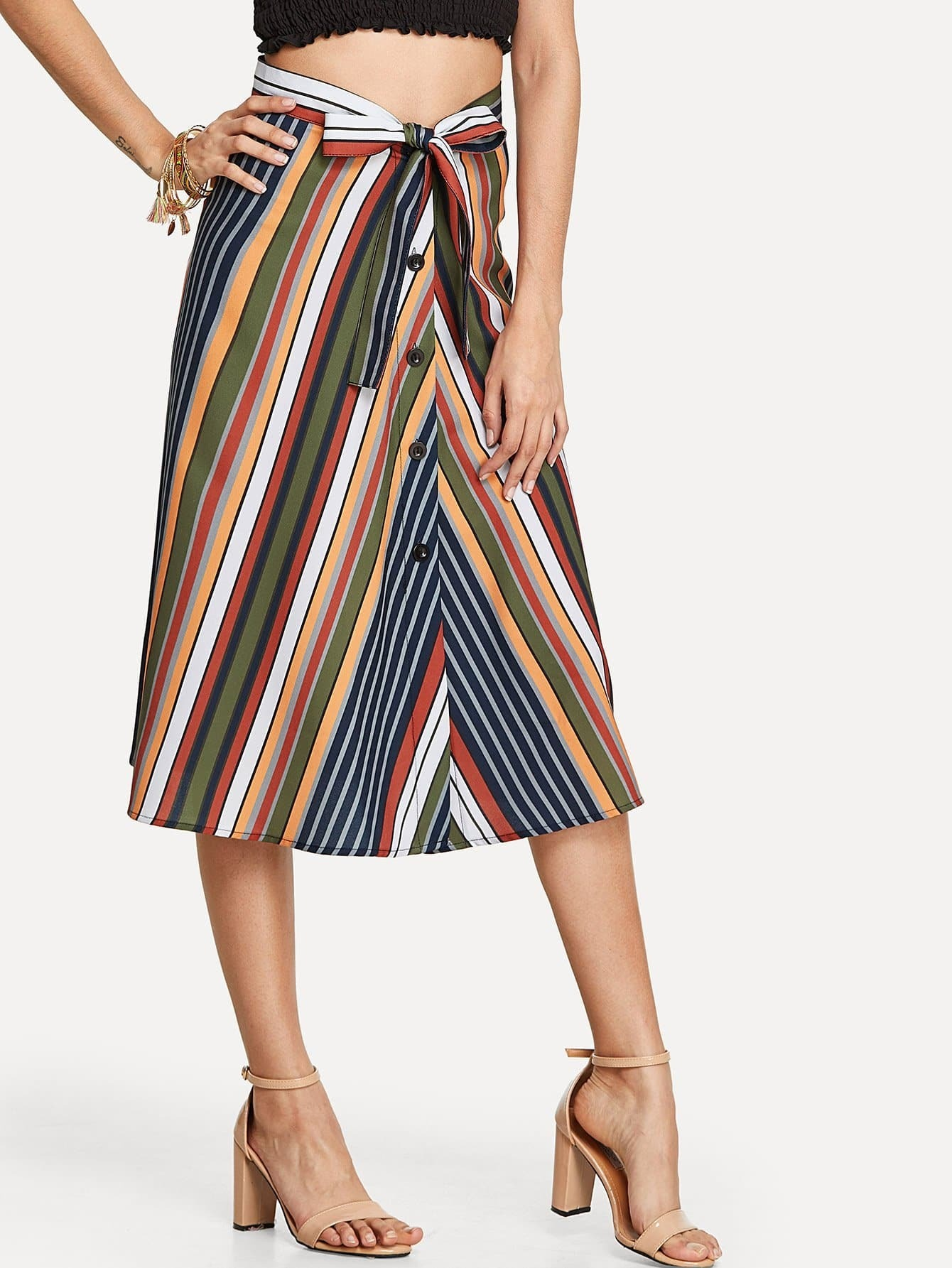 Multi Striped Skirt multi striped skirt