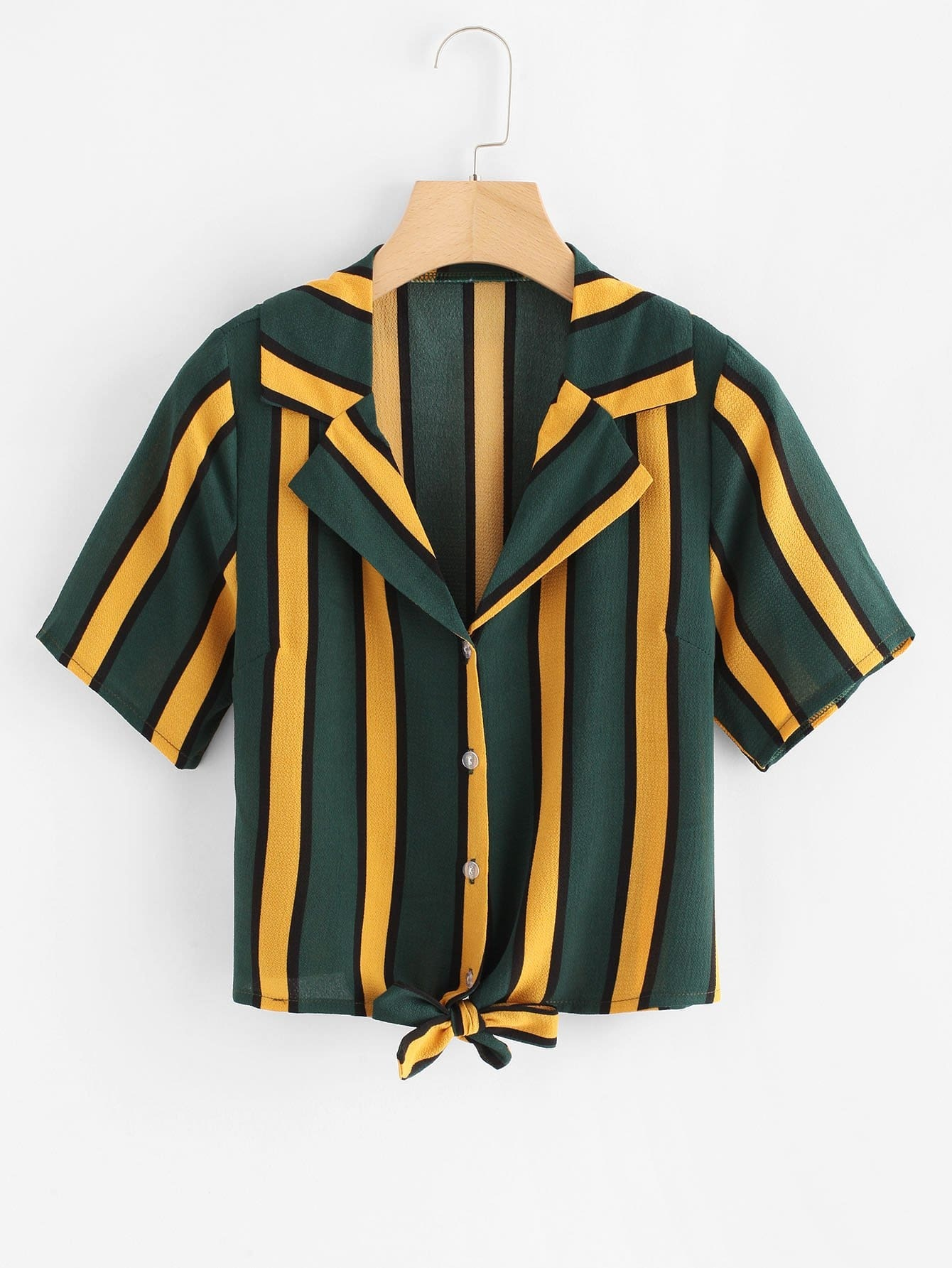 Colorful Striped Tie Front Button Top