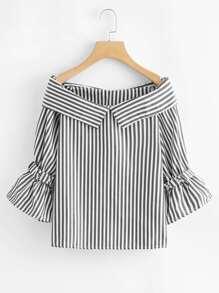 Foldover Vertical Striped Blouse