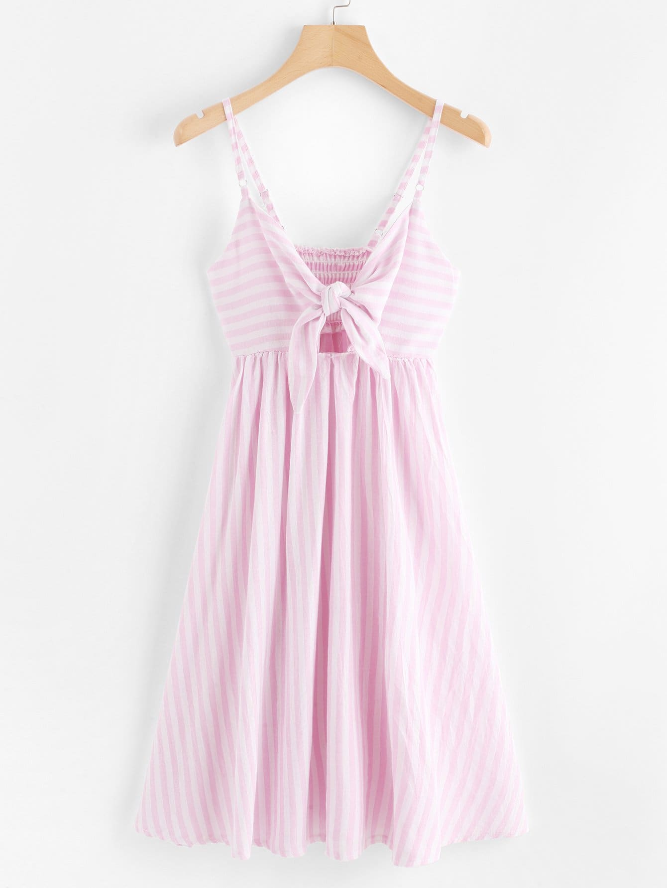 Self Tie Hollow Striped Cami Dress