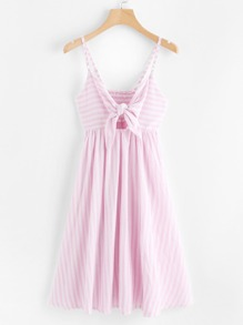 Self Tie Hollow Striped Cami Dress