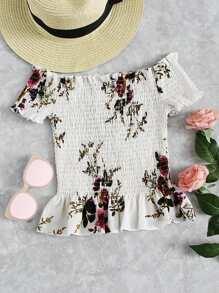 Floral Shirred Ruffle Hem Blouse