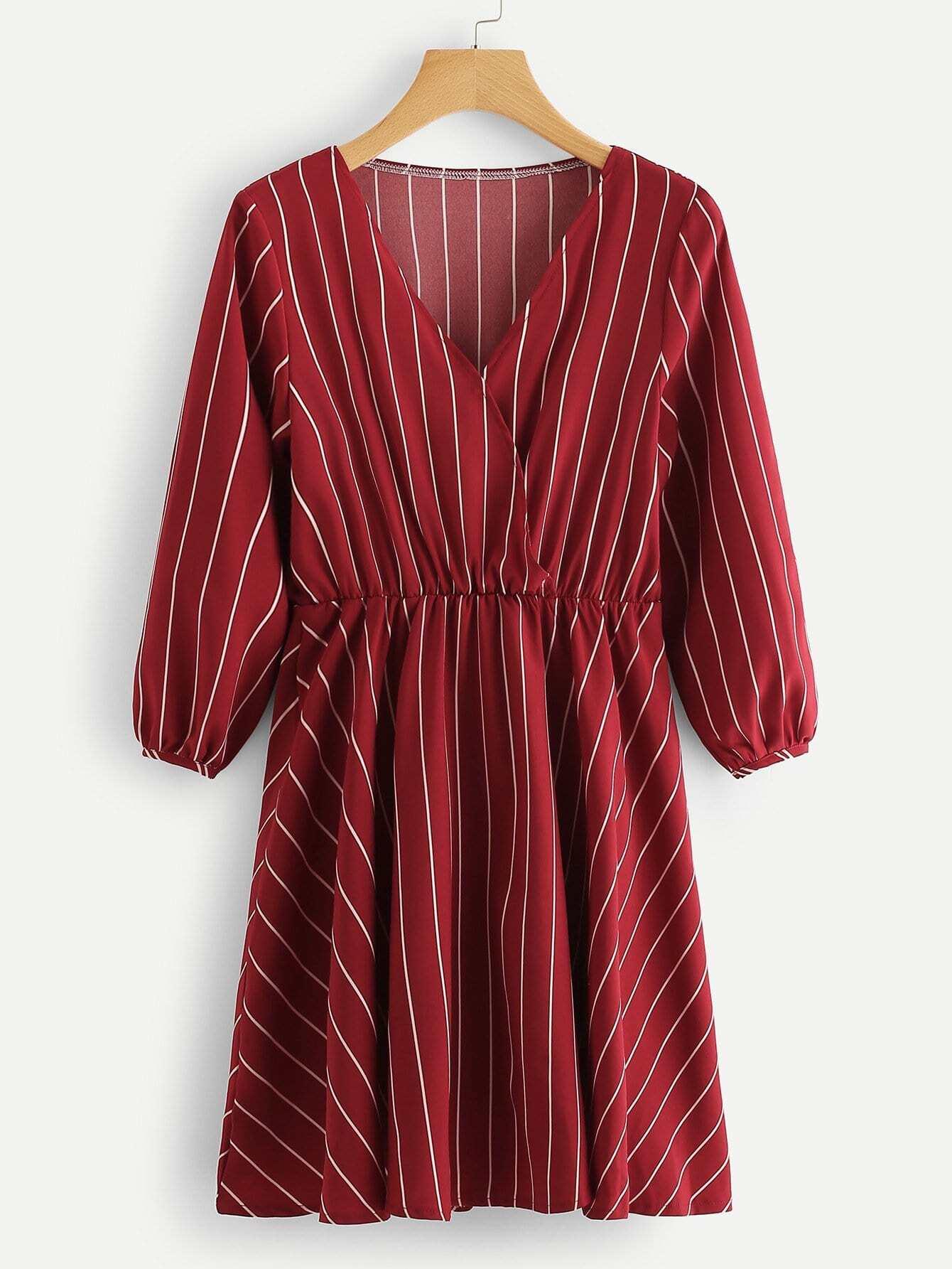 Stripe Wrap Puff Sleeve Dress