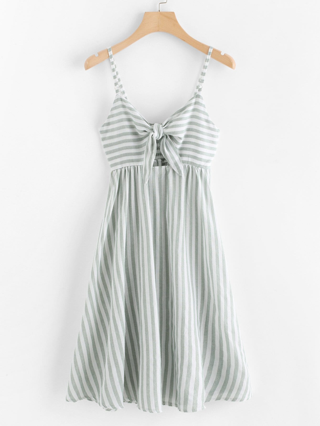 Asymmetric Stripe Bow Front Dress