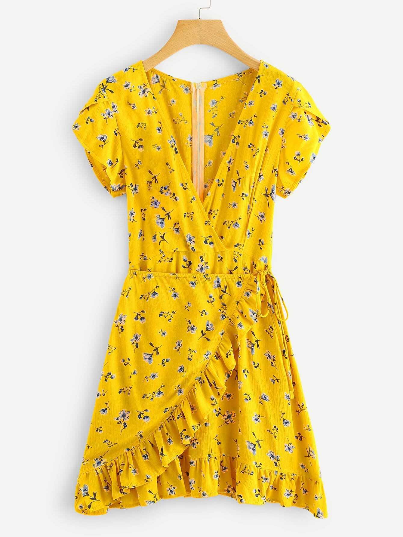 Floral Wrap Frill Trim Zipper Dress