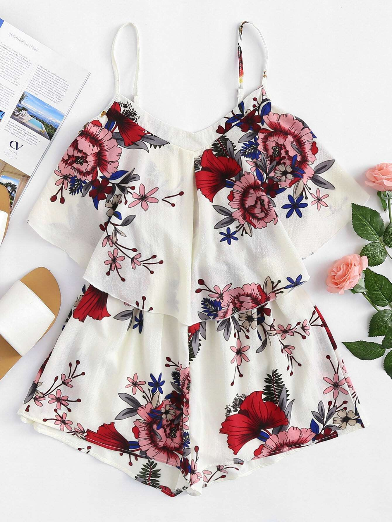 Flower Print Cami Romper