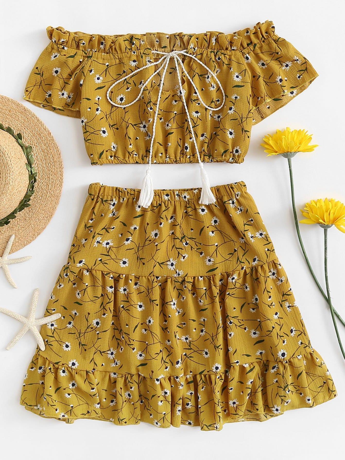 Off The Shoulder Flower Print Ruffle Crop Top With Skirts ruffle off the shoulder crop top