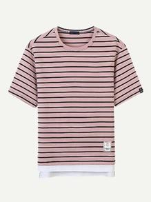 Men Stripe Contrast Hem Tee ROMWE